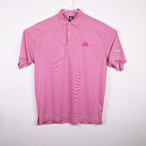 Foot Joy Men's XL Pink & White Stripe Golf Polo